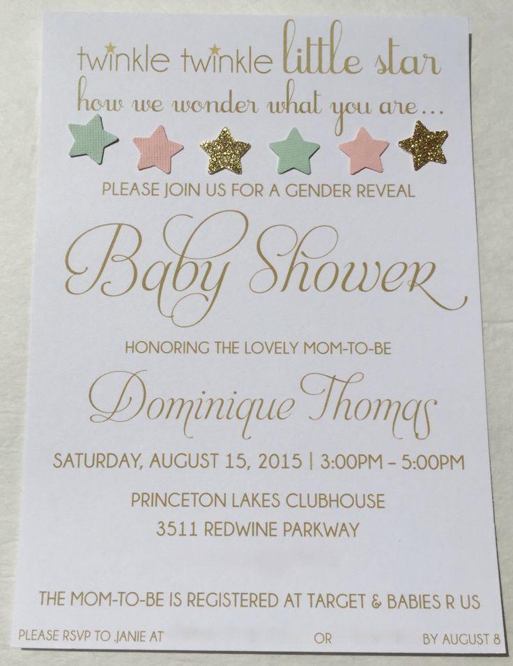 Gender Reveal Baby Shower Party Invitation Mint Light Pink Peach Gold Glitter Twinkle Twinkle Little Star by SomethingBorrowedAtl on Etsy https://www.etsy.com/listing/241209384/gender-reveal-baby-shower-party
