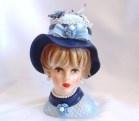 Vintage Blue Lady Head Vase Pin Cushion Jewelry Holder Potpourri - Napcoware