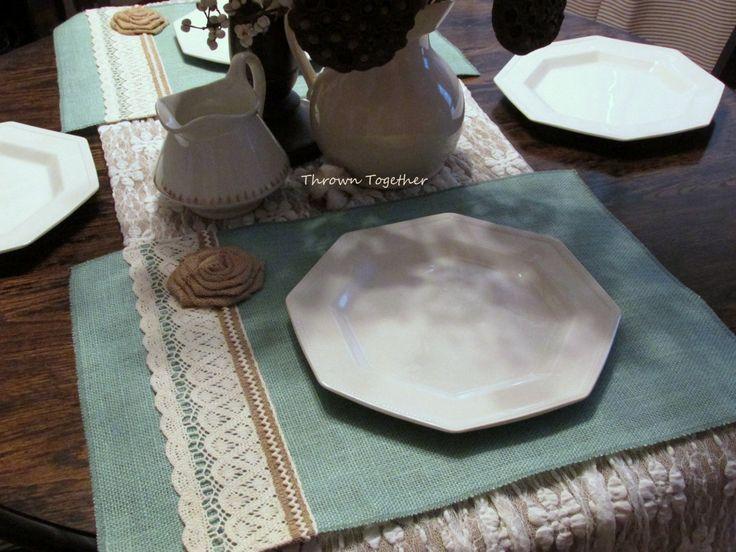 """Burlap Lace Placemats, Rustic Farmhouse Table Decor, Aqua Natural Ivory Placemats, Burlap & Lace, Set of 4 (14"""" x 20""""), Rustic Placemats"""