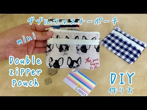 100均材料☆ダブルファスナーポーチ(小銭入れ&カード入れ)作り方DIY Double zip pouch (coin purse & card) How to make - YouTube