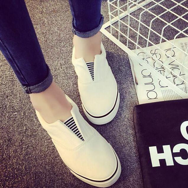 2015 verano de la boca baja zapatillas de deporte moda Women ' s corriendo Pedal perezoso bajo mocasín de lona transpirable pisos femeninos