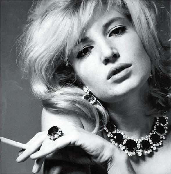 Actress Monica Vitti wearing jewelry by Bulgari  Photo by Karen Radkai (1963)