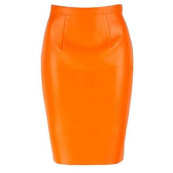Leather Look Bodycon Skirt in Orange ($29) ❤ liked on Polyvore featuring skirts, zipper pencil skirt, stretch pencil skirt, body con skirt, pastel skirts and orange skirt