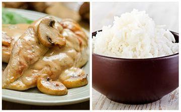 Recette de Escalope de veau à la crème champignon-paprika et riz