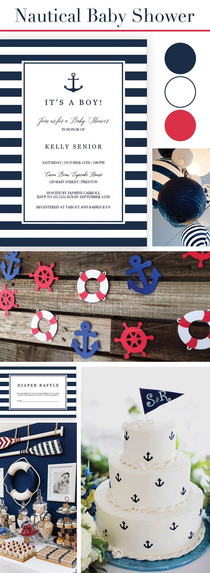 Nautical Baby Shower theme idea for boy. Nautical Baby Shower Invitation Set Navy Stripes. Make the perfect announcement of a baby shower with this nautical baby shower invitation set. Included in the set are the Invitation, a Diaper Raffle ticket and a Bring-a-Book request card. Personalize the items with your own words. Simply download, edit and print!