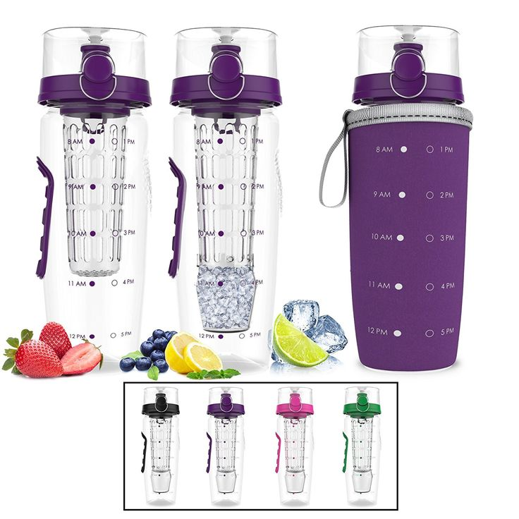 Bevgo Infuser Water Bottle – Large 32oz Hydration Timeline Tracker Detachable Ice Gel Ball With Flip Top Lid Quit Sugar Save Money Multiple Colors with Recipe Gift Included