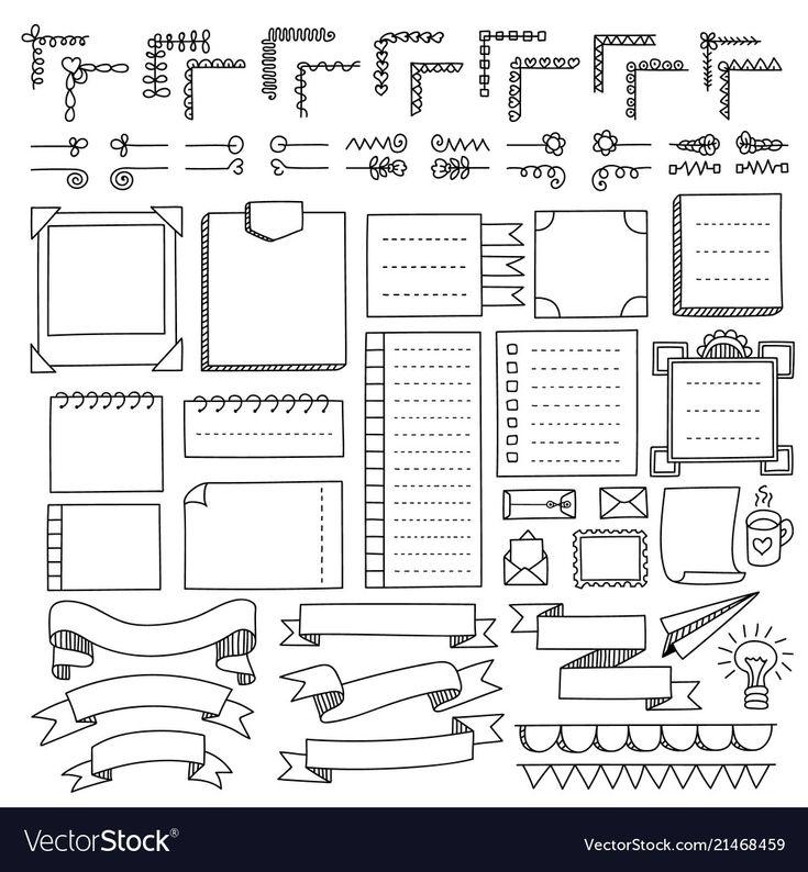 Set of bullet journal doodle elements Royalty Free…
