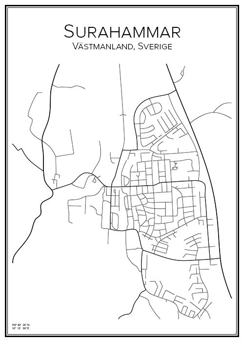 Surahammar. Västmanland. Sverige. Karta. City print. Print. Affisch. Tavla. Tryck.