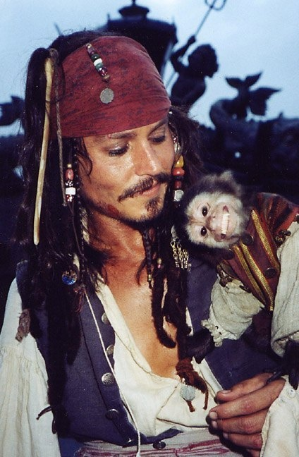 Behind the scenes- Captain Jack Sparrow and Jack the monkey