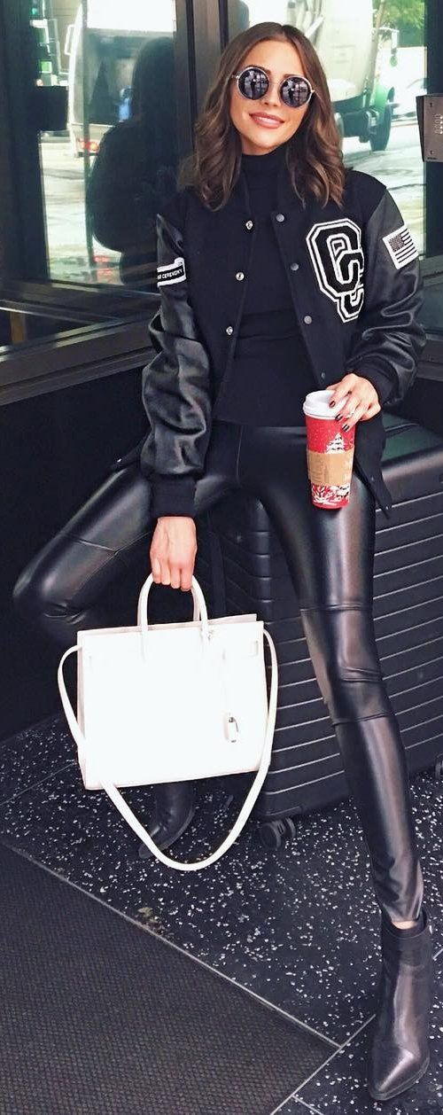 #winter #fashion / Black Printed Jacket / Skinny Leather Pants / White Leather Tote Bag