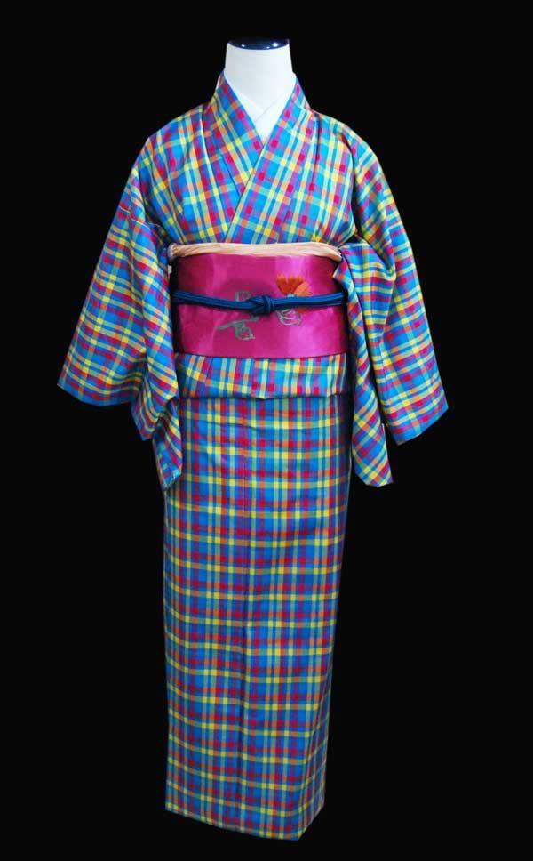 モダンポップ!チェック柄銘仙 | kimono sarasa