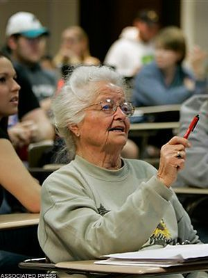 Senior Freshman Kansas-born Nola Ochs took her 1st college course at Fort Hays State Univ in 1930, but didn't complete her degree till 2007, at age 95, becoming the nation's oldest college graduate. After raising 4 sons  becoming a grandma to 13/great-grandma to 15, she graduated with a 3.7 GPA alongside her granddaughter!