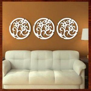 quadros decorativos em mdf vazado trio de mandalas