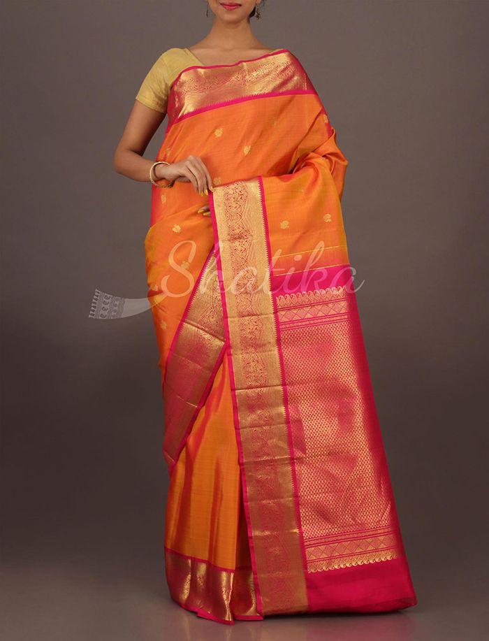 Vasudha Festive Orange And Pink Ornate Border Pallu Pure #SalemSilkSaree