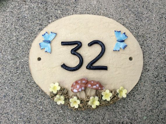 House numbers house number plaque ceramic address by Sallyamoss