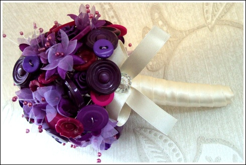 Purple button bouquet by Debbie Carlisle www.dcbouquets.co.uk