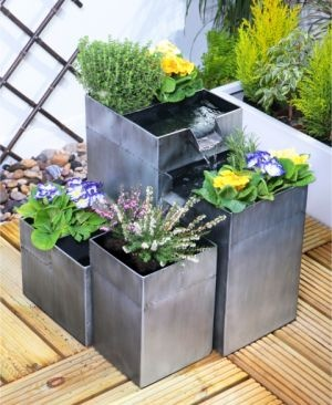 Daintree Planter Solar Cascade Water Fountain - Silver