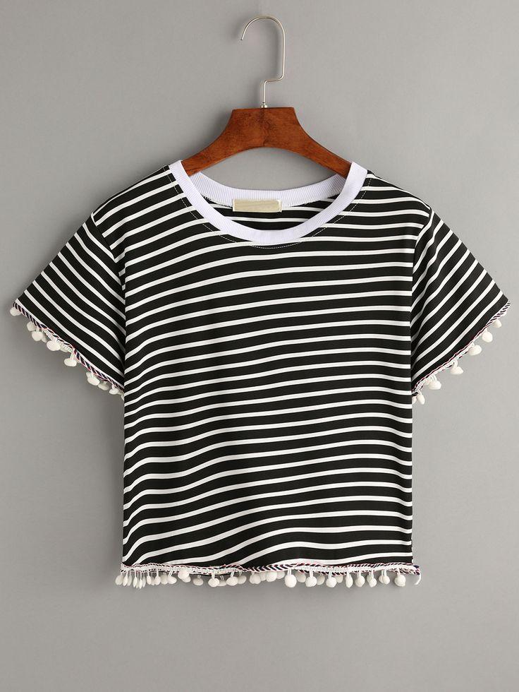 Buy Black Striped Contrast Trim Pom Pom T-shirt from abaday.com, FREE shipping Worldwide - Fashion Clothing, Latest Street Fashion At Abaday.com