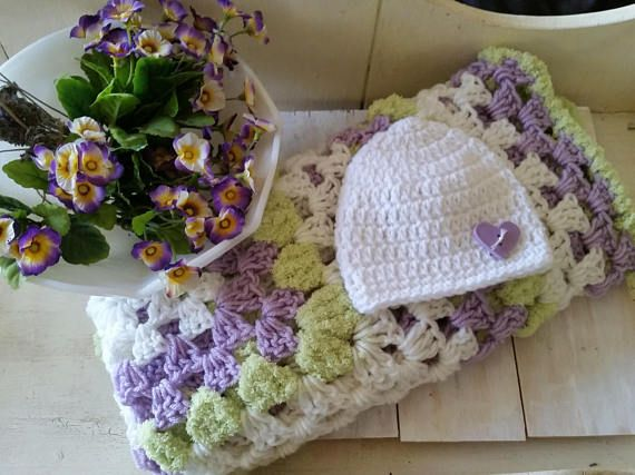 Crochet Baby Blanket 33 x 33 Newborn Beanie Hat With Hair Bow