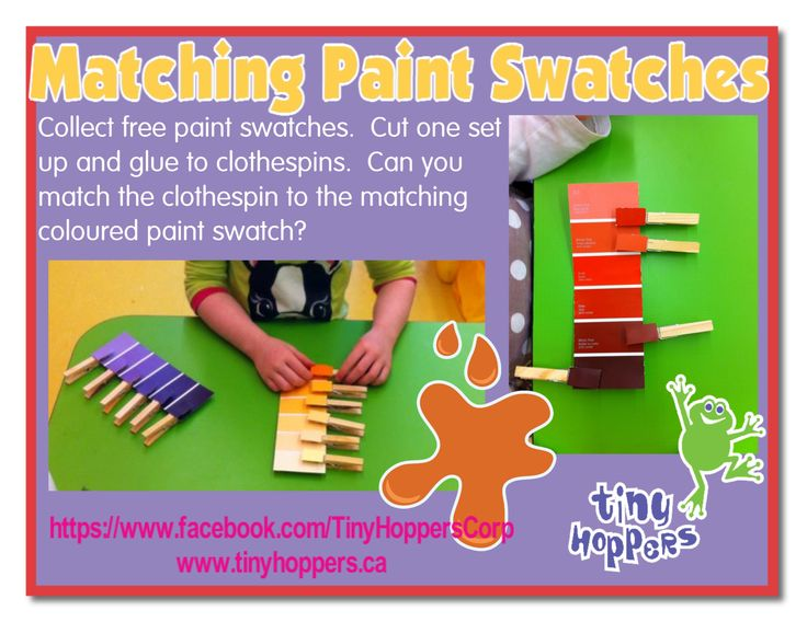 A great way to use free paint swatches that you can collect from any paint store.  Collect two of each swatch.  Cut up one swatch and glue p...