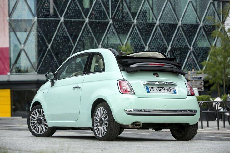 Fiat 500 cabriolet vert pastel. Essayez gratuitement des modèles neufs de #Fiat500 >> http://www.mavoitureparinternet.com/essai-automobile/index_site.php?sourceref=wnSAR