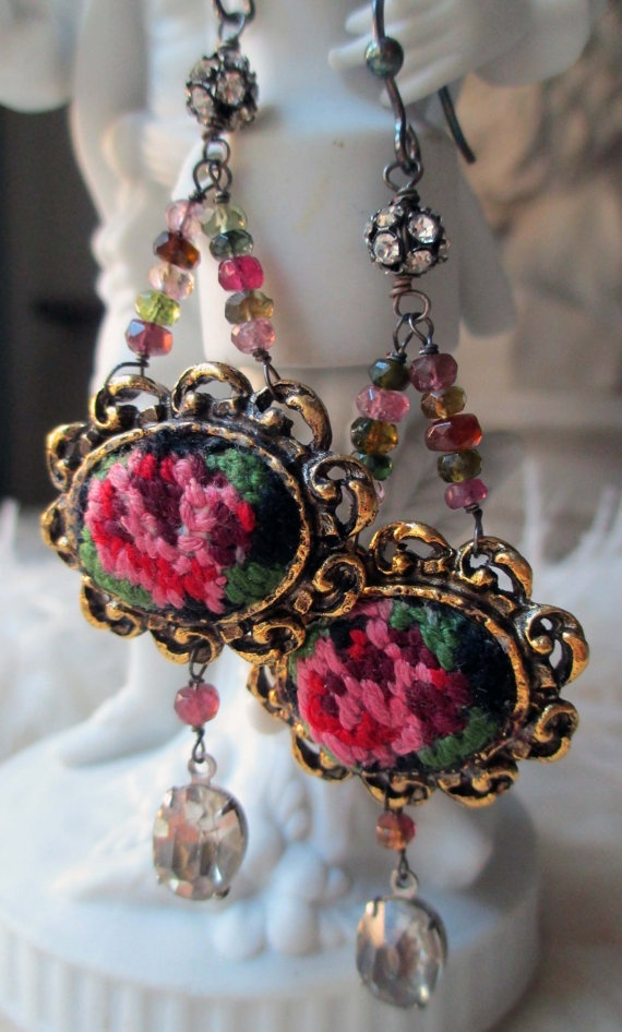 'tapestry' vintage assemblage earrings with petit point findings by The French Circus