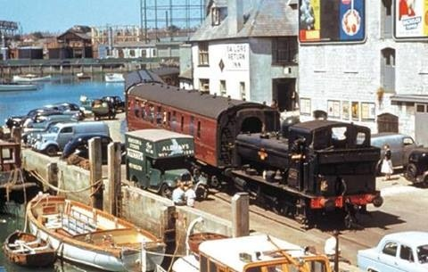 Channel Island boat train, traveling on Weymouth Quay.