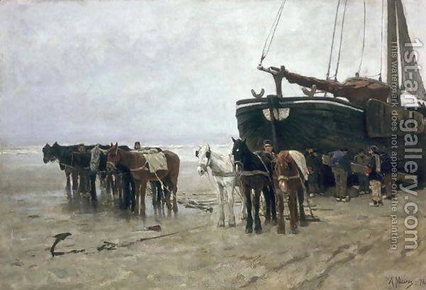 Boat on the Beach at Scheveningen, 1876 Anton Mauve | Oil Painting Reproduction…