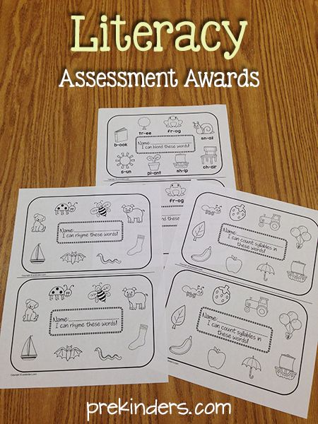 Children can take these home to show their progress to their families. This set of awards includes assessments of syllables, rhyming, and oral blending.  From Prekinders.com