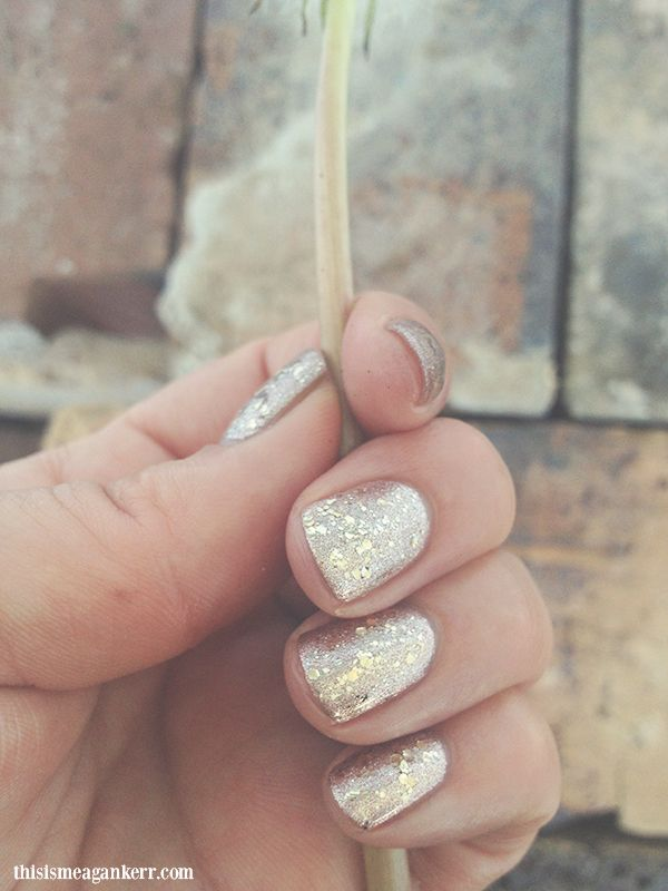 Rose Gold glitter nails using Artistic Colour Gloss Glamorous over Goddess
