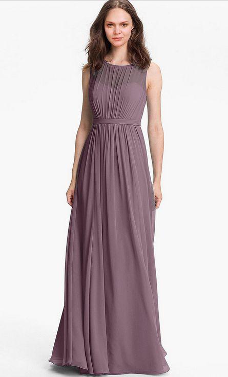 Princess Floor-length None Jewel Natural Bridesmaid Dresses