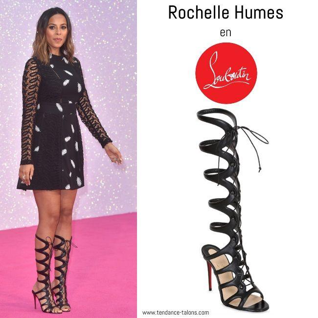 """La chanteuse Rochelle Humes (du groupe The Saturdays) en sandales gladiateur """"Amazoula"""" de Christian Louboutin à l'avant-première du film """"Bridget Jones Baby"""" à Londres"""