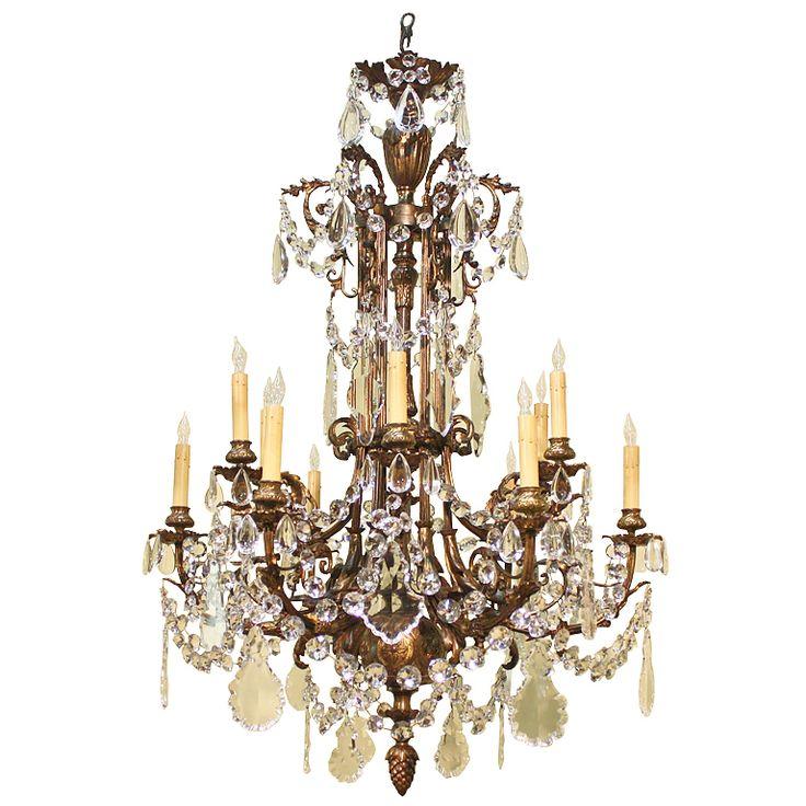 1stdibs Napoleon Iii Style Bronze And Crystal Chandelier 38 X 32 12 000