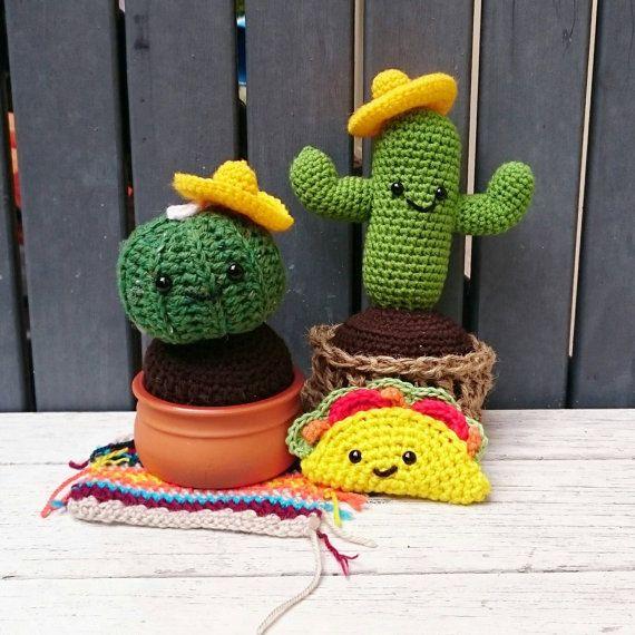 READY TO POST Bernardo the Barrel crochet cactus by OnePrettyPony
