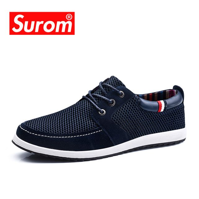 SUROM 2017 Men's Lace up Shoes Cut out England Suede Patchwork Mesh Fashion Men  Casual Shoes