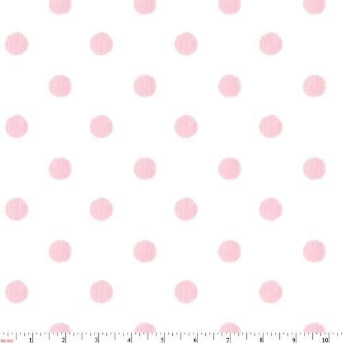 White and Pink Polka Dot Fabric by Carousel Designs.