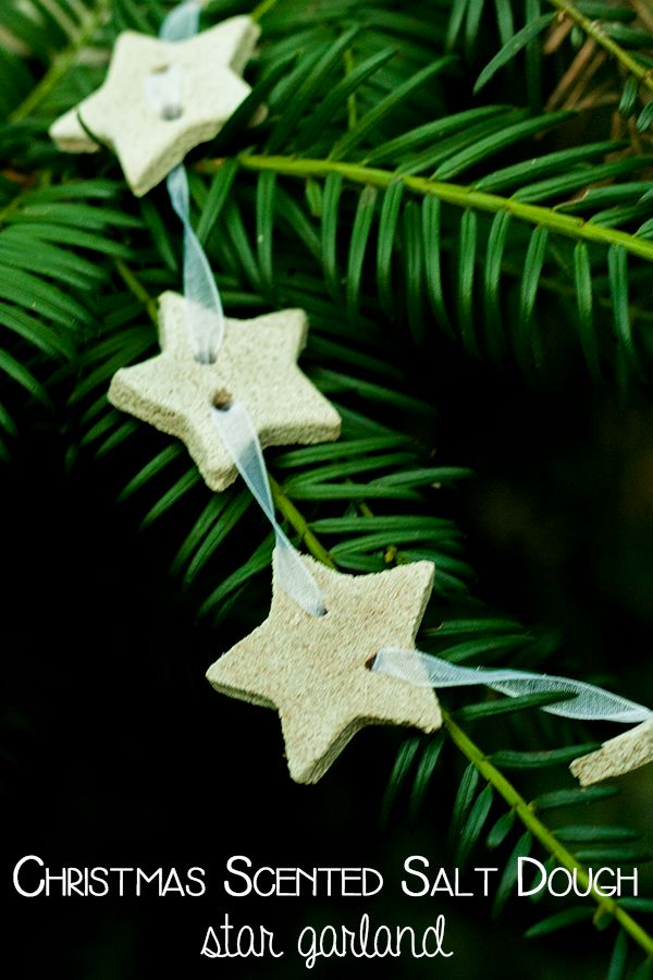 Create simple and beautiful decorations for the home with this Christmas scented salt dough recipe and star garland idea to use them.