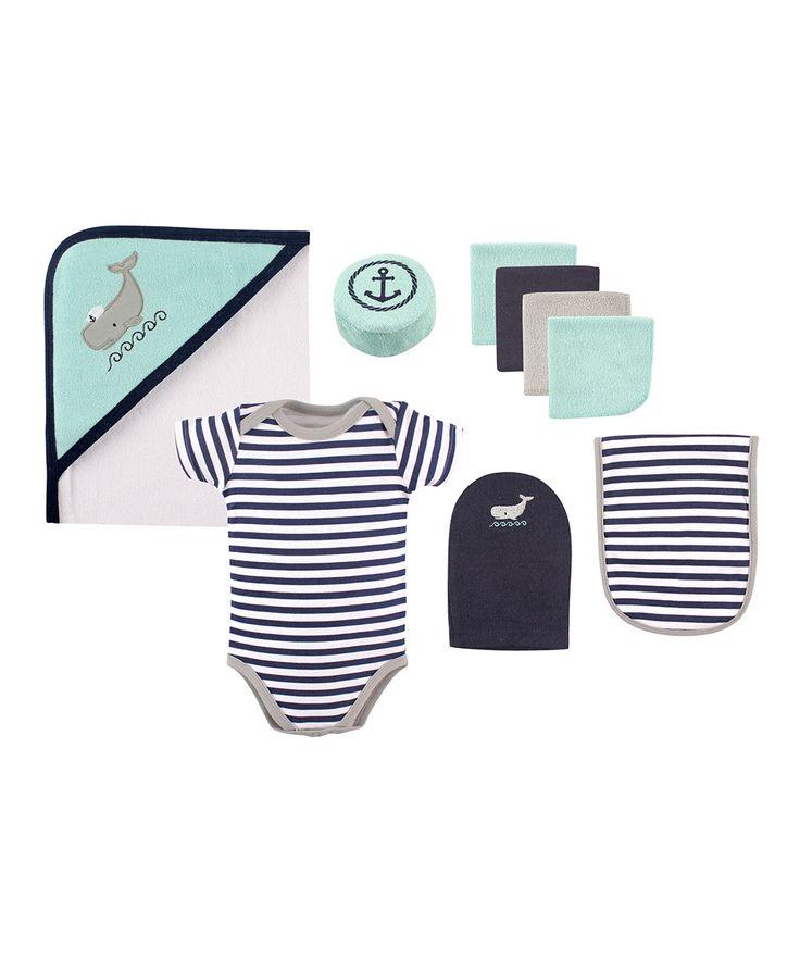 Navy & White Stripe Whale Hooded Bath Towel Set - Infant
