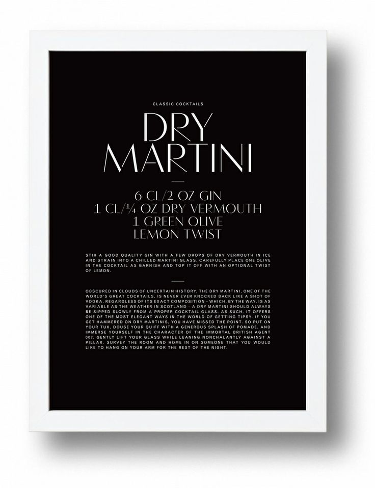 Dry Martini typographic cocktail poster