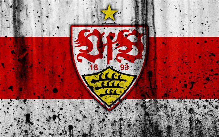 Télécharger fonds d'écran FC Stuttgart, 4k, du logo, de la Bundesliga, de la texture de pierre, en Allemagne, à Stuttgart, le soccer, le football club, Stuttgart FC