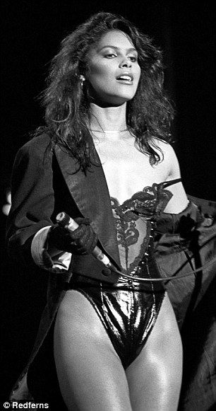 Raunchy: Vanity's act in the 1980s saw her take to the stage as the frontwoman for a group...