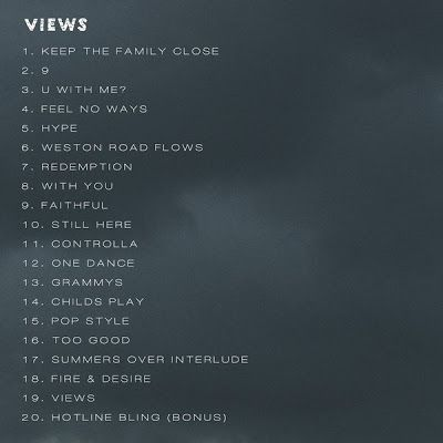 Drake Views Tracklist [Official Release]   Drake #VIEWS Tracklist and release date is finally here the Toronto rapper shared his long awaited Views from the 6 (Six) album. Peep the full tracklist and artwork below Seems Drizzy changed the album title to just views as seen on the lasted cover release. The 20 Tracks album features 'Hotline Bling (Bonus) Pop style Fire and Desire and more.  Tracklist (click links for lyrics) 1. Keep the Family Close 2. 9 3. U With Me? 4. Feel No Ways 5. Hype…