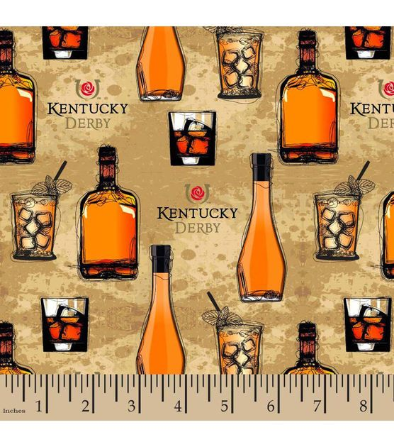 Kentucky Derby Bourbon Cotton Fabric
