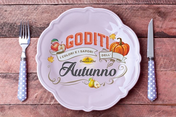 Behance :: Editing Autumn lettering   Behance :: Editing Autumn lettering  This lettering piece was done for my client Camoscio d'Oro (delicious cheese). Once the lettering was done and approved I'd tried it in different settings and environments, always related with food topic. In this example dish  #mockupfood, #mockupapron, #fall, #autumn, #lettering, #pumpkin, #fall, #dishmokcup, #table ware