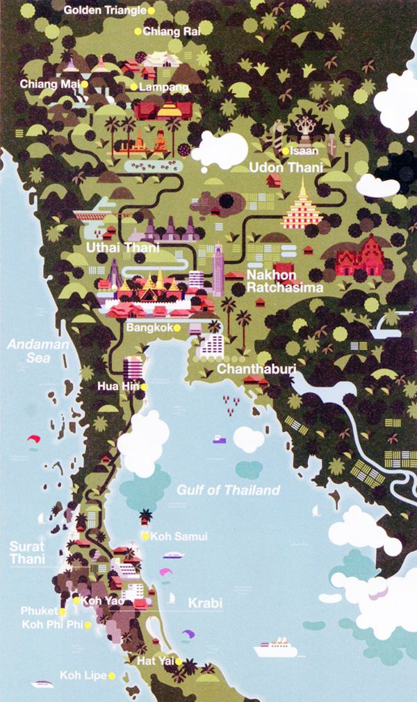 Beautifully illustrated map of Thailand | Pin via our friends at @Gayle Robertson Bredlau Planet Italia :)