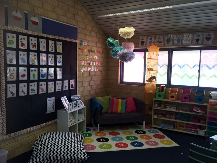"""Colourful chevron reading corner. Quote on the wall reads """"Read... the more that you read the more things you will know"""". My favourite space in my classroom."""