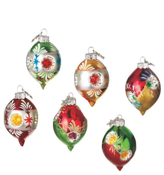 reflector drop christmas ornament set of 6