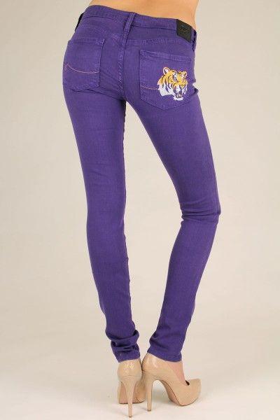 OCJ Apparel   Premium Collegiate Denim   LSU Tigers Skinny Jeans Mascot in Purple   www.ocjapparel.com