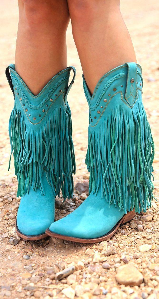 ..turquoise fringe cowboy boots..