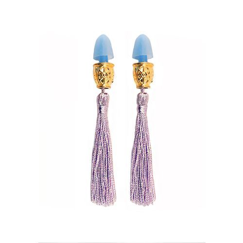 These glamoroustassel earplugs are an exquisite handmade replica of the ones worn by the lovely Audrey Hepburn as Holly Golightly in the film Breakfast at Tiffany's. Choose between the soft violet as